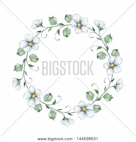 White flowers. Watercolor floral wreath. Hand drawn element for design. Round frame 1