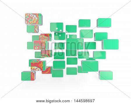 Flag Of Turkmenistan, Mosaic Background