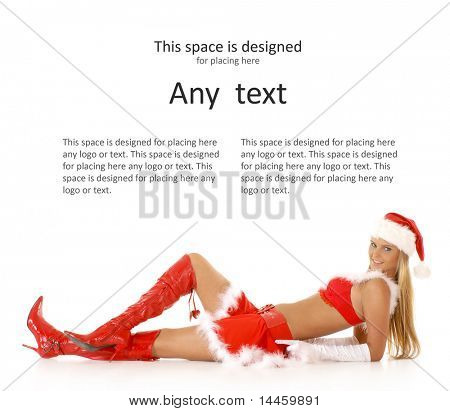 Young sexy Santa sitting isolated on white
