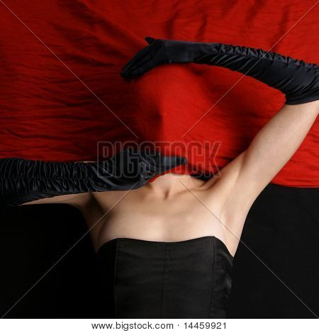 Bizarre shoot of sexy lady in abstract style