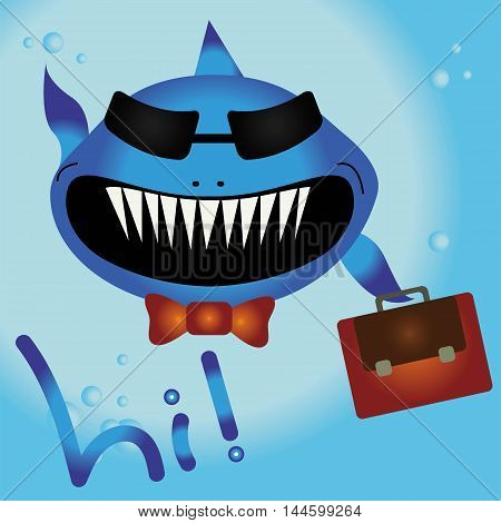 Vector cartoon smiling blue shark wearing sunglasses, tie and briefcase floating in ocean