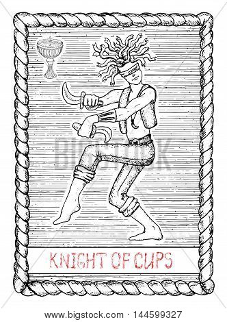 Knight of cups. The minor arcana tarot card, vintage hand drawn engraved illustration with mystic symbols. Warrior with snakes instead hair, blind man dancing with daggers