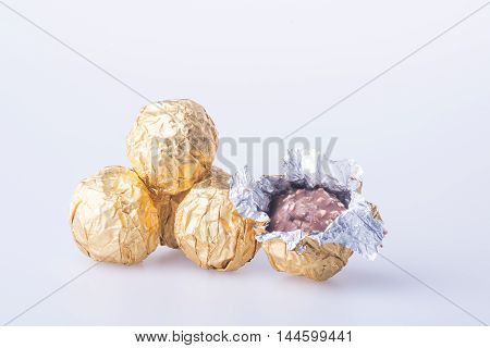 Chocolate Ball Or Chocolate Bonbon On A Background.