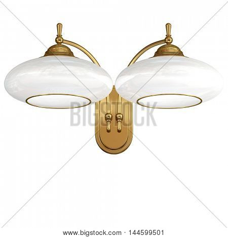 Vintage wall lamp isolated on white. 3d illustration