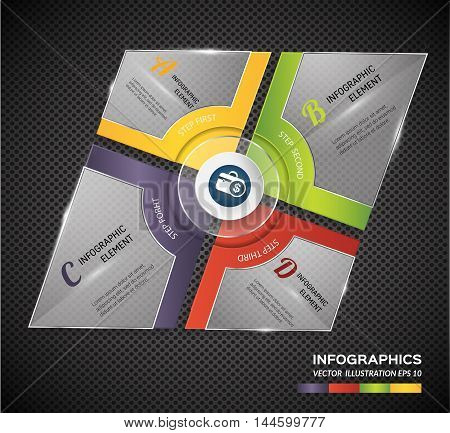 Abstract modern square glossy banner business. Can uesd for presentation, data diagram, banner and infographic business.Vector illustration concept.