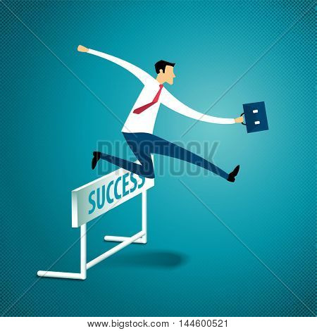Business concept Businessman Jumps Over Hurdle