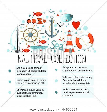 Collection of nautical elements in a semicircle shape. Template for text. There are lighthouse, seagull, sailboat, life buoy, fish, anchor and wheel. Vector illustration.