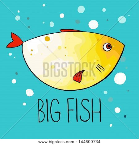 Vector illustration of yellow fish with red fins and tail on turquoise background. Cartoon style.