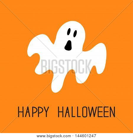 Funny flying ghost. Happy Halloween. Greeting card. Cute cartoon character. Scary spirit. Baby collection. Orange background. Flat design. Vector illustration
