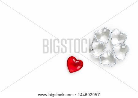 Valentines hearts made of glass on white background
