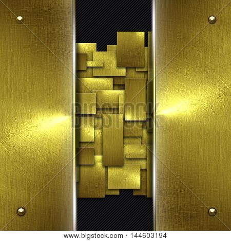 shiny gold fix wall on black carbon fiber. gold background and texture. 3d illustration.