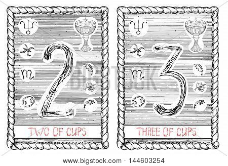 Two and three of cups. The minor arcana tarot card, vintage hand drawn engraved illustration with mystic symbols.