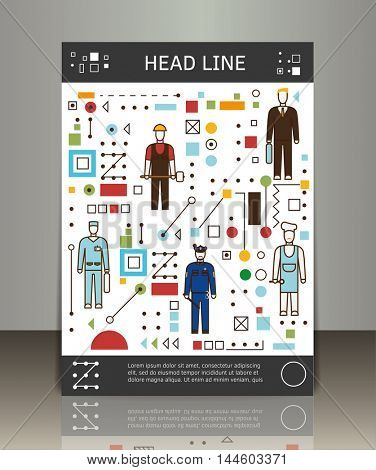 Flat line illustration of various people professions. Vector business brochure or magazine cover template.