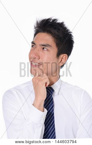 Business young smile man of Asian, portrait isolated