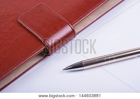Leather luxury diary and ball pen on white background