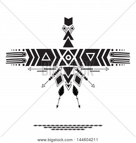 Vector illustration in ethnic and Aztec style. Geometric forms