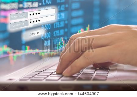 Financial stock market data. Candle stick graph chart of stock market ,stock market data graph chart on LED concept, work for stock market background ,stock market education and stock market analysis.(Focus on keyboard)