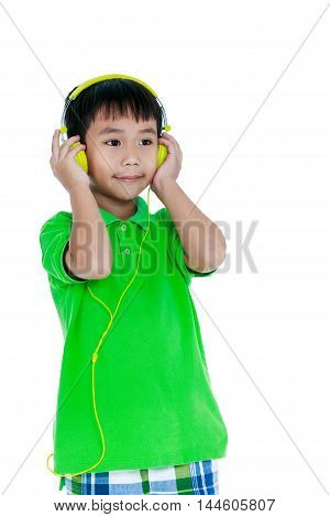 Happy Asian Child With Headphones, Isolated On White Background. Studio Shot.