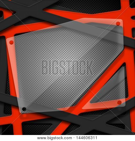 set 8. gray and orange frame with glass on carbon fiber. metal background and texture. 3d illustration.