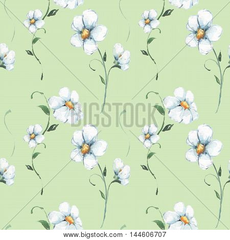 White flowers. Watercolor floral pattern. Seamless hand drawn background 2