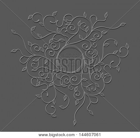 Vector pattern with swirls and leaves with a round frame on grey background