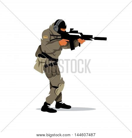 The shooter is moving with a gun. Isolated on a white background