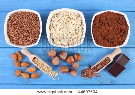 Natural ingredients or products containing magnesium and dietary fiber healthy food and nutrition
