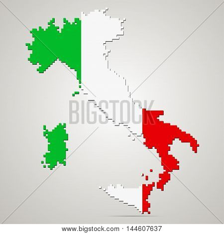 Creative pixel Italy map vector illustration. Italian patriotic poster.