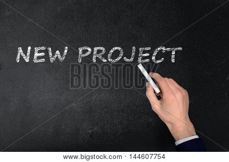 New Project text write on black board