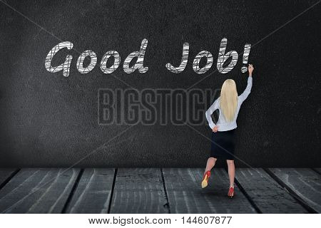Good Job text write on black board