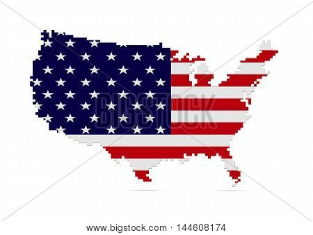Creative pixel USA map vector illustration. American patriotic poster.