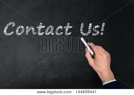 Contact Us text write on black board