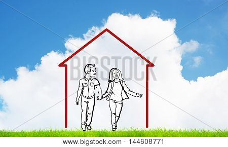 House figure as real estate symbol with couple on clouds background