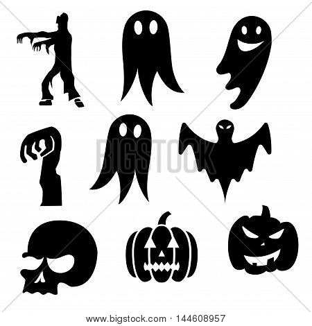 Black color Abstract Halloween illustration pack on white background