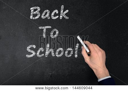 Back to School text write on black board