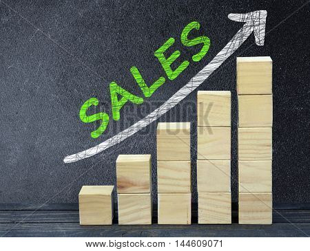 Sales text on black board and block stairs