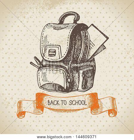 Vintage background back to school vector sketch illustration