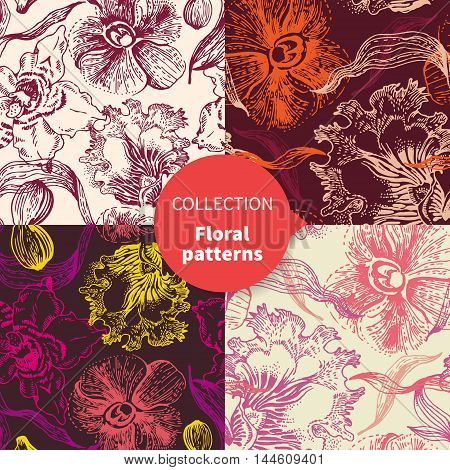 Hand drawn seamless vector floral pattern vector set