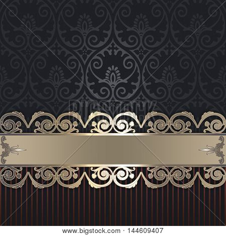 Vintage ornate background with decorative border and old-fashioned patterns.