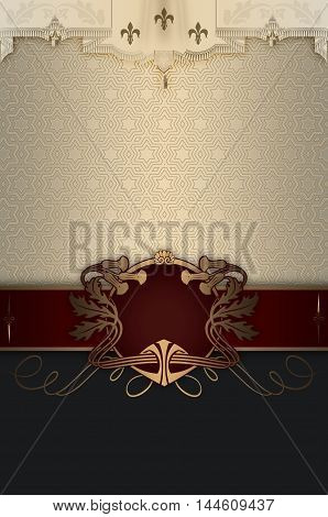 Luxury vintage background with decorative frameborders and patterns.