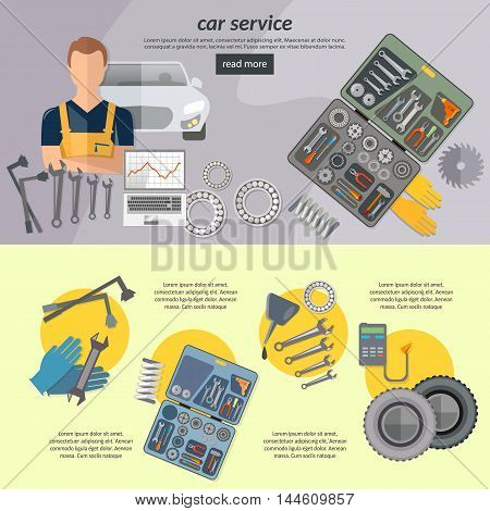 Car service banner auto mechanic tool box car repair vector illustration