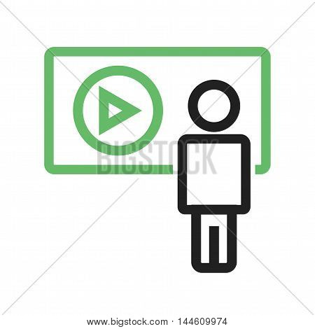 Video, lecture, learning icon vector image. Can also be used for E Learning. Suitable for mobile apps, web apps and print media.