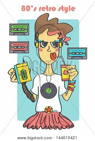 Cool 80s retro style girl with portable cassette player and music tapes