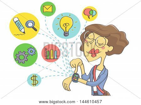 Wearable technology for businesswomen. Business woman planning business on smart watch.