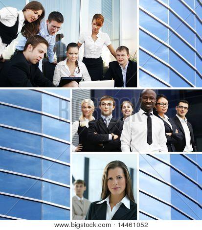 Collage de negocio compuesta de muchos diferentes cuadros sobre finanzas, tiempo, dinero, bienes raíces y corpor
