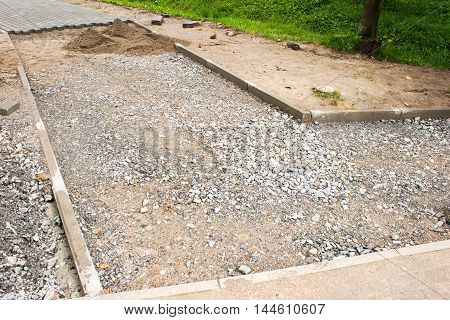 construction of a new pavement of paving slabs in residental area