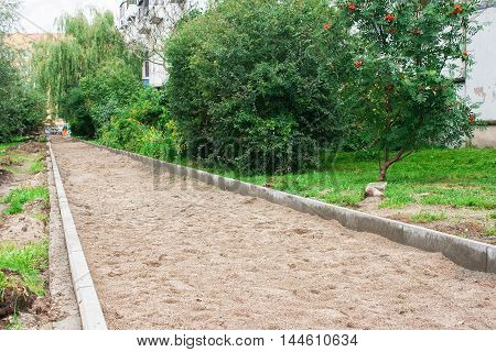 construction of a new pavement in a residential area