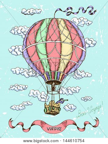 Colorful happy birthday card with hot air balloon, banner and clouds on blue scratched background. Doodle line art illustration with hand drawn design elements. Have a good trip text in French.