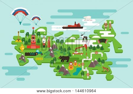 Travel concept Russia. National symbols national costumes. Famous attractions of the country. Vector infographics in flat style