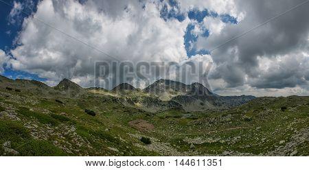 Aerial view of Mountain peak panoramic shot